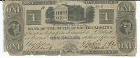 BANK STATE OF SOUTH CAROLINA CHARLESTON $1 1862 LOW SERIAL 3 B HOUSE NOTE GIFT