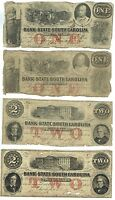 4 NOTE LOT BANK SOUTH CAROLINA CHARLESTON TWO $2 AND $1 1861 1862 GOOD CONDITION