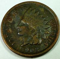 1908 S UNITED STATES INDIAN HEAD CENT / PENNY   F FINE CONDITION