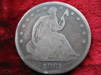 1861 P SEATED LIBERTY SILVER HALF DOLLAR  WAR BETWEEN THE STATES DATE