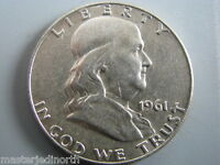1961 D FRANKLIN SILVER HALF DOLLAR COIN  CIRCULATED  VF  NCF02