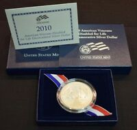 2010 AMERICAN VETERANS DISABLED FOR LIFE UNCIRCULATED SILVER DOLLAR W/ BOX & COA