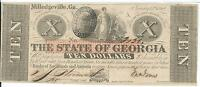 STATE OF GEORGIA MILLEDGEVILLE $10 1862 SIGNED ISSUED  31362 CR4 CRISP UNCIRC