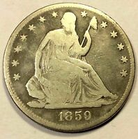 1859 SEATED HALF DOLLAR TOUGH DATE