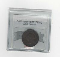 1891 LL/LD OBV.3,COIN MART GRADED CANADIAN LARGE ONE CENT EF 40