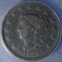 1826 ANACS VG10 LARGE CENT CORONET HEAD COIN 058 PENNY ANTIQUE COPPER SHIPS FREE