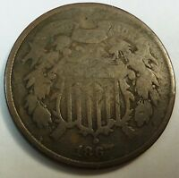 1867 UNITED STATES SHIELD TWO CENT PIECE - AG ABOUT GOOD CONDITION