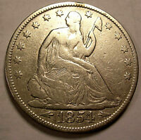 1854 SEATED HALF DOLLAR SHARP NICE