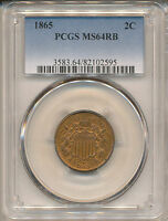 1865 TWO CENT MINT STATE 64RB PCGS