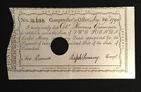 CONNECTICUT COMPTROLLERS OFFICE NOTE DEC 1790 2 POUNDS COLONEL THOMAS GROSVENOR
