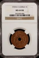 FRENCH INDO CHINA  1939 A   CENT  NGC MS 64 RB UNC  BRONZE