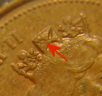 N53 1994 CANADIAN COPPER 1 CENT WITH A FULL PLUG IN THE QUEEN'S CROWN