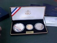 2001 US CAPITAL VISITOR CENTER 3 COIN PROOF SET W/BOX & COA