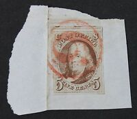 CKSTAMPS: US STAMPS COLLECTION SCOTT1 5C FRANKLIN USED ON PIECE CREASE CV$400