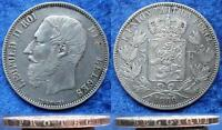 BELGIUM   SILVER .900 5 FRANCS 1869 KM24 LEOPOLD II 1865 1909 EDELWEISS COINS