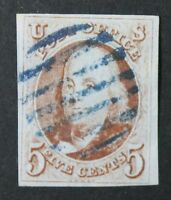 CKSTAMPS: US STAMPS COLLECTION SCOTT1 5C FRANKLIN USED CV$400