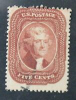 CKSTAMPS: US STAMPS COLLECTION SCOTT28 5C JEFFERSON USED CV$1050