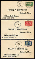 1925 LEXINGTON-CONCORD 150TH SET/3 - MATCHED BOSTON MA FDC'S T142