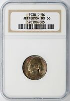 1938 D 5C JEFFERSON NICKEL NGC MS66