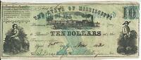 STATE MISSISSIPPI $10 1862  BLUE FAITH STATE PLEDGED 48968 CSA NOTE