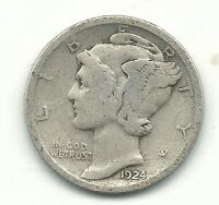 A NICE VINTAGE 1924 P MERCURY SILVER DIME OLD US COIN FEB387