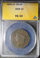 1826 ANACS VG10 LARGE CENT CORONET HEAD OLD COIN PENNY ANTIQUE COPPER SHIPS FREE