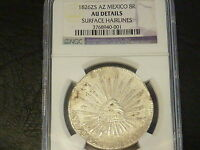 Q8      MEXICO. 1826 ZS AZ 8 REALES  NGC AU  DETAILS    IN CONDITION