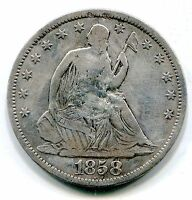 US SEATED HALF DOLLAR 1858 S SOME DAMAGE ON OBV  LOTFEB6031