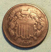 1867 TWO CENT  COIN SHARP