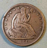 1859 O SEATED HALF DOLLAR SHARP BETTER DATE NICE