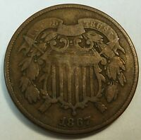 1867 UNITED STATES SHIELD TWO CENT PIECE - VG  GOOD CONDITION