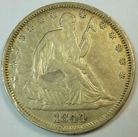 1844 O AU ABOUT UNCIRCULATED UNITED STATES SEATED LIBERTY HALF DOLLAR