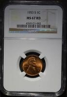 1953 S NGC MS67 RD LINCOLN CENT  SUPERB GEM WHEAT PENNY COIN SHIPS FREE