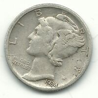 A VINTAGE BETTER GRADE 1934 D MERCURY SILVER DIME OLD US COIN FEB470