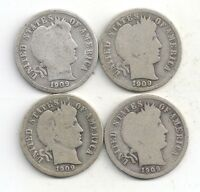 1909 P D O S YEAR SET OF BARBER DIMES 90 SILVER PDOS