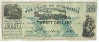 STATE OF MISSISSIPPI $20 1862  TRAIN BLUE FAITH OF THE STATE PLEDGED 1114 NOTE