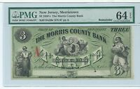 NEW JERSEY MORRISTOWN MORRIS BANK $3 RED 1862 PMG CURRENCY G26C BLACKSMITH EAGLE