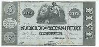 MISSOURI JEFFERSON CITY 1862 1863 ISSUED DATE CHANGE $5 BLUE TINT 35324