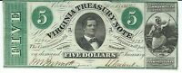 VIRGINIA TREASURY NOTE $5 SIGNED ISSUED 1862 AUD. BENNETT GLADIATOR 9792