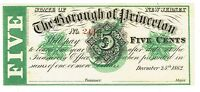 NEW JERSEY BOROUGH PRINCETON 5 CENTS CHRISTMAS DAY 1862 GREEN OVERPRINT 2113