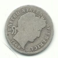 A VINTAGE GOOD CONDITION 1908 P BARBER SILVER DIME COIN OLD US COIN FEB543