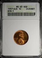 1957 D/D MS65 RD LINCOLN CENT WHEAT PENNY  ERROR COPPER COIN 881 SHIPS FREE