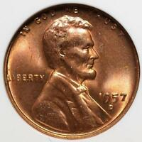 1957 D/D DDO MS66 RD LINCOLN CENT 2 ERRORS DOUBLED DIE COPPER PENNY SHIPS FREE