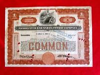 ASSOCIATED GAS AND ELECTRIC NEW YORK UTILITY COMMON SHARE CERTIFICATE 1932 T7U