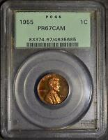 1955 PCGS PR67 CAM LINCOLN CENT PROOF RED COPPER OLD GREEN HOLDER SHIPS FREE OGH