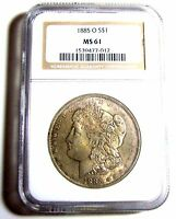 1885-O MORGAN SILVER DOLLAR NGC-MINT STATE 61 VAM-1A, R-5, RUSTED WING & NECK, ,
