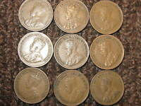 CANADA  SMALL CENTS COLLECTION OF 9 COINS 1920 21 28 29 32 TO 36 .