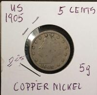 US 5 CENTS 1905 COPPER NICKEL