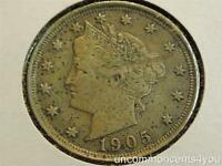 1905 LIBERTY HEAD V NICKEL, PITTED, EXTRA FINE , EXTRA FINE