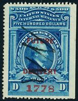 DR JIM STAMPS OLD US REVENUE SCOTT RC20 $500 DOCUMENTARY FUTURE DELI USED
